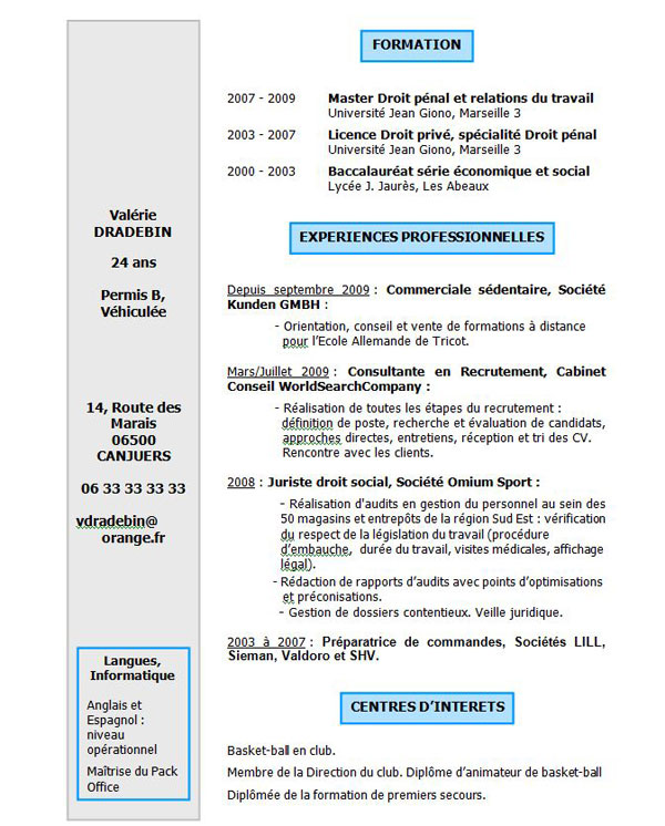 cv 100  gratuit   exemple de cv - lettre de motivation - mod u00e8le cv