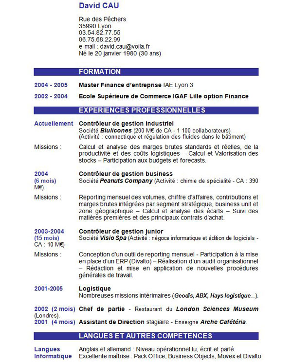 introduction cv exemple Exemples gratuits de cv à télécharger | Rapport de stage facile introduction cv exemple