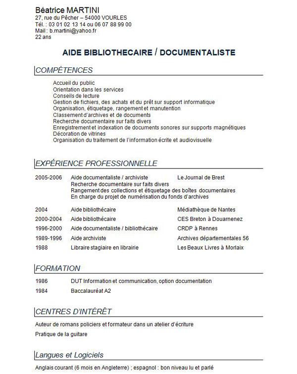 modele cv simple gratuit