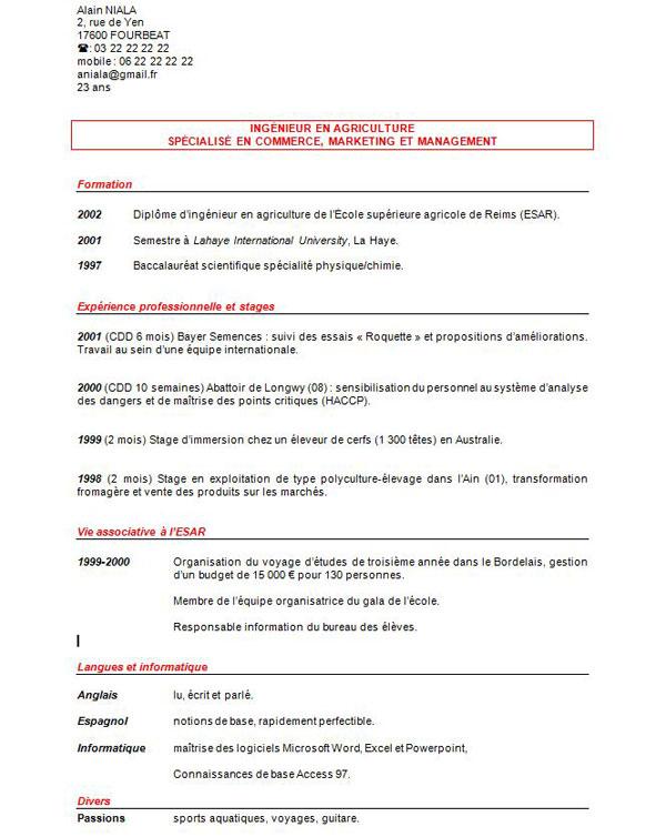 5 Modèles Et Exemples De Cv Curriculum Vitae à Consulter